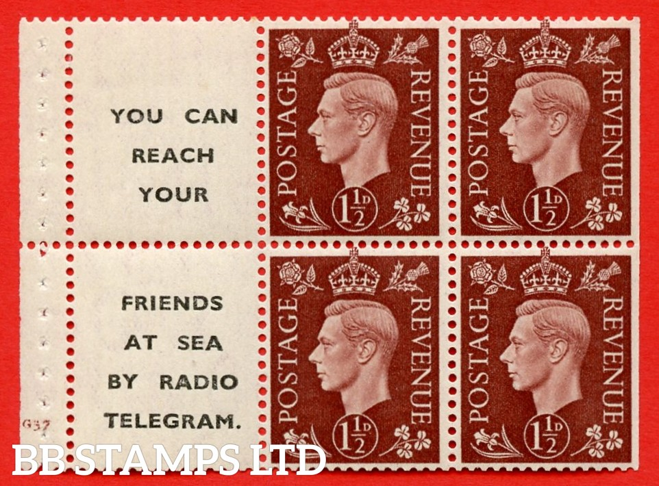 """QB23 Perf Type B3A(P) (12) 1½d Red-Brown x 6 Pane, MOUNTED MINT. Cylinder Pane G37 no do  ( SG. 464b ) Perf type B3A(P). """" You can reach your / friends at sea by Radio Telegram  """". Trimmed Perfs."""