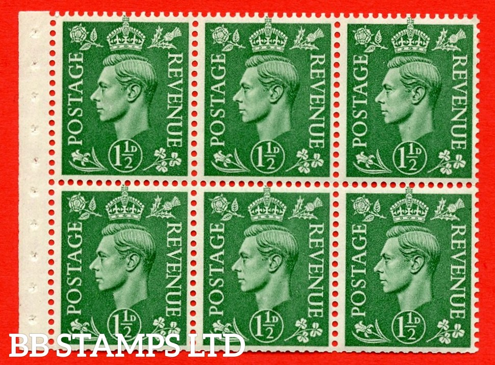 """SG. 505b. QB26. 1½d pale green. A superb UNMOUNTED MINT complete booklet pane. Perf type """" I """". Good Perfs"""
