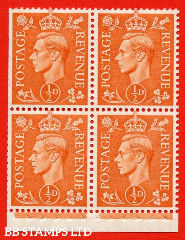 """SG. 503e. QB8a. ½d orange. A fine MOUNTED MINT complete booklet pane of 4. Perf type """" I """". Trimmed Perfs."""