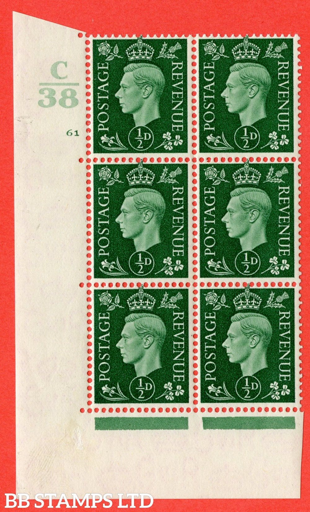 "SG. 462. Q1. ½d Green. A superb UNMOUNTED MINT "" Control C38 cylinder 61 no dot "" block of 6 with perf type 5 E/I."