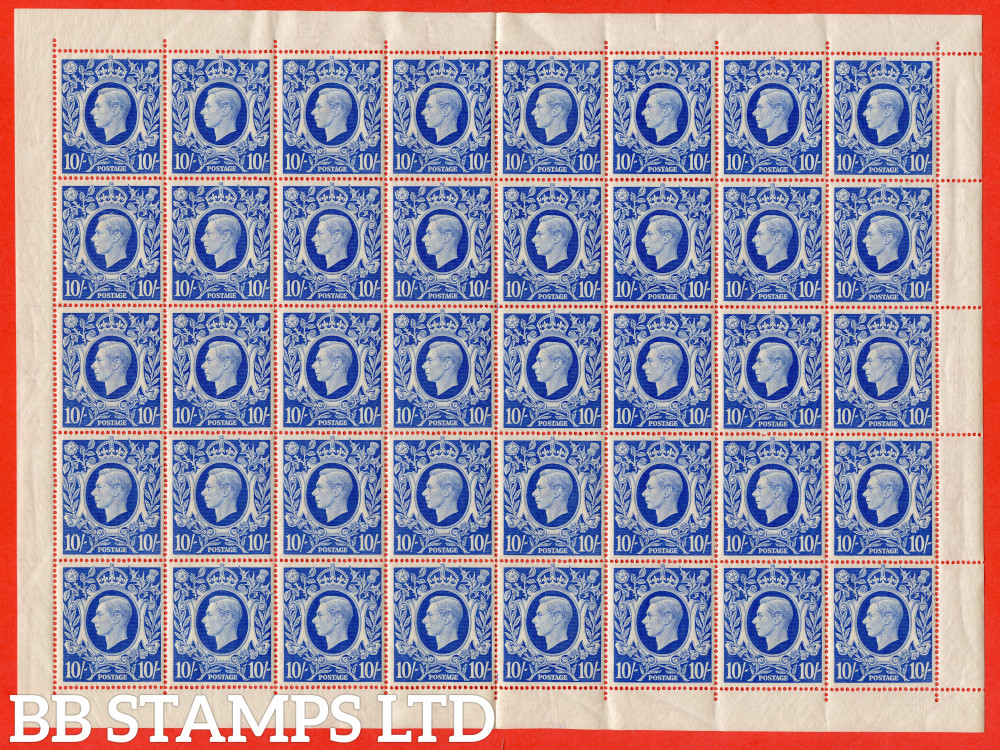 SG. 478b. Q33. 10/- Ultramarine. A fine UNMOUNTED MINT mint complete sheet of 40. A scarce multiple these days.