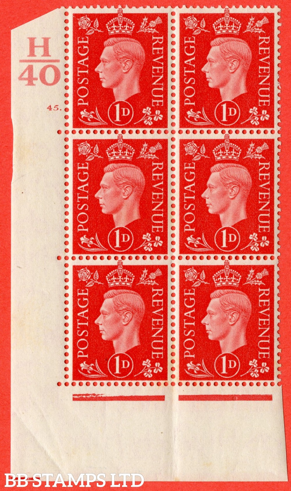 "SG. 463. Q4. 1d Scarlet. A superb UNMOUNTED MINT "" Control H40 cylinder 45 dot "" block of 6 with perf type 5 E/I."