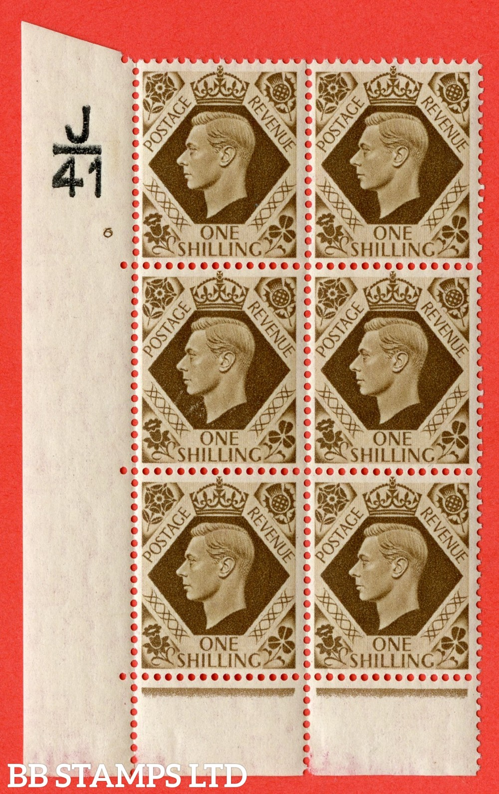 "SG. 475. Q28. 1/- Bistre-Brown. A fine lightly  mounted mint "" Control  J41 cylinder 6 no dot "" control block of 6 with perf type 6B E/P"