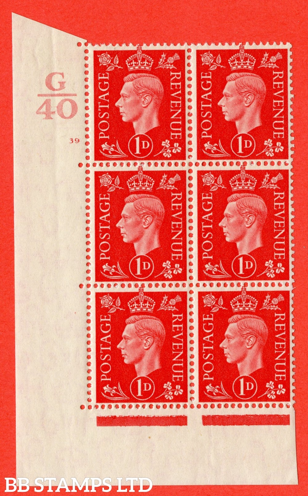 "SG. 463. Q4. 1d Scarlet. A superb UNMOUNTED MINT "" Control G40 cylinder 39 no dot "" block of 6 with perf type 5 E/I with marginal rule."