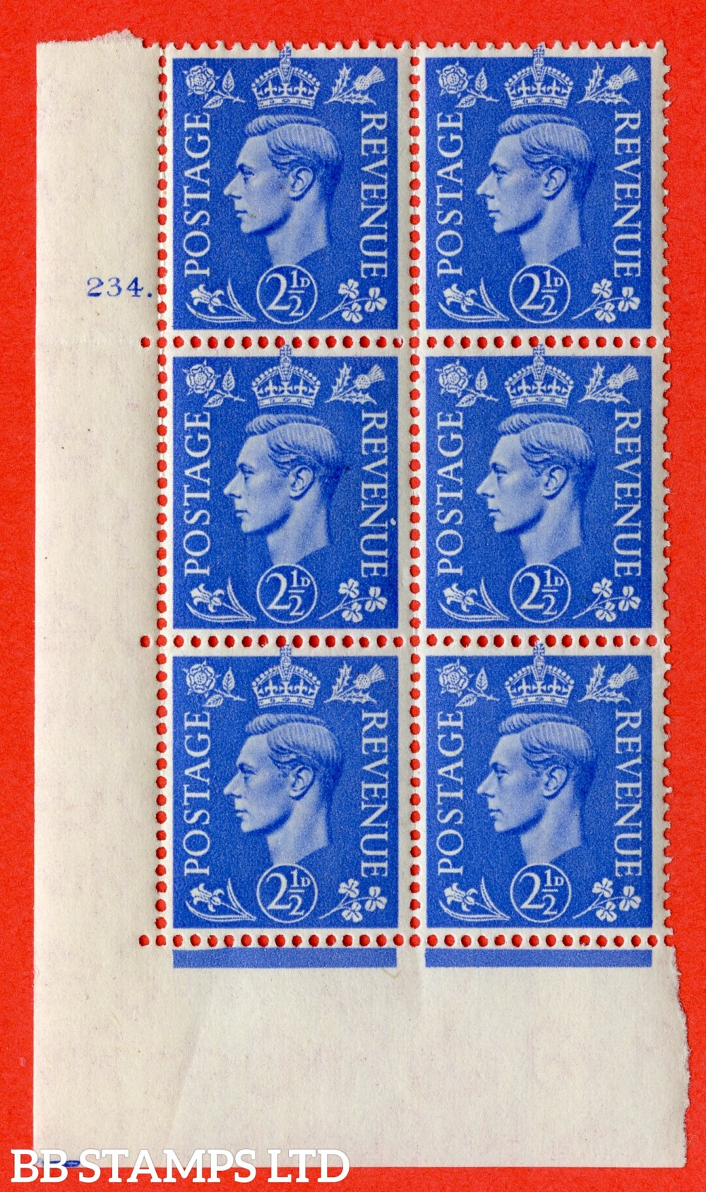 "SG. 489. Q14. 2½d Light ultramarine. A superb UNMOUNTED MINT "" No Control cylinder 234 dot "" control block of 6 with perf type 5 E/I"