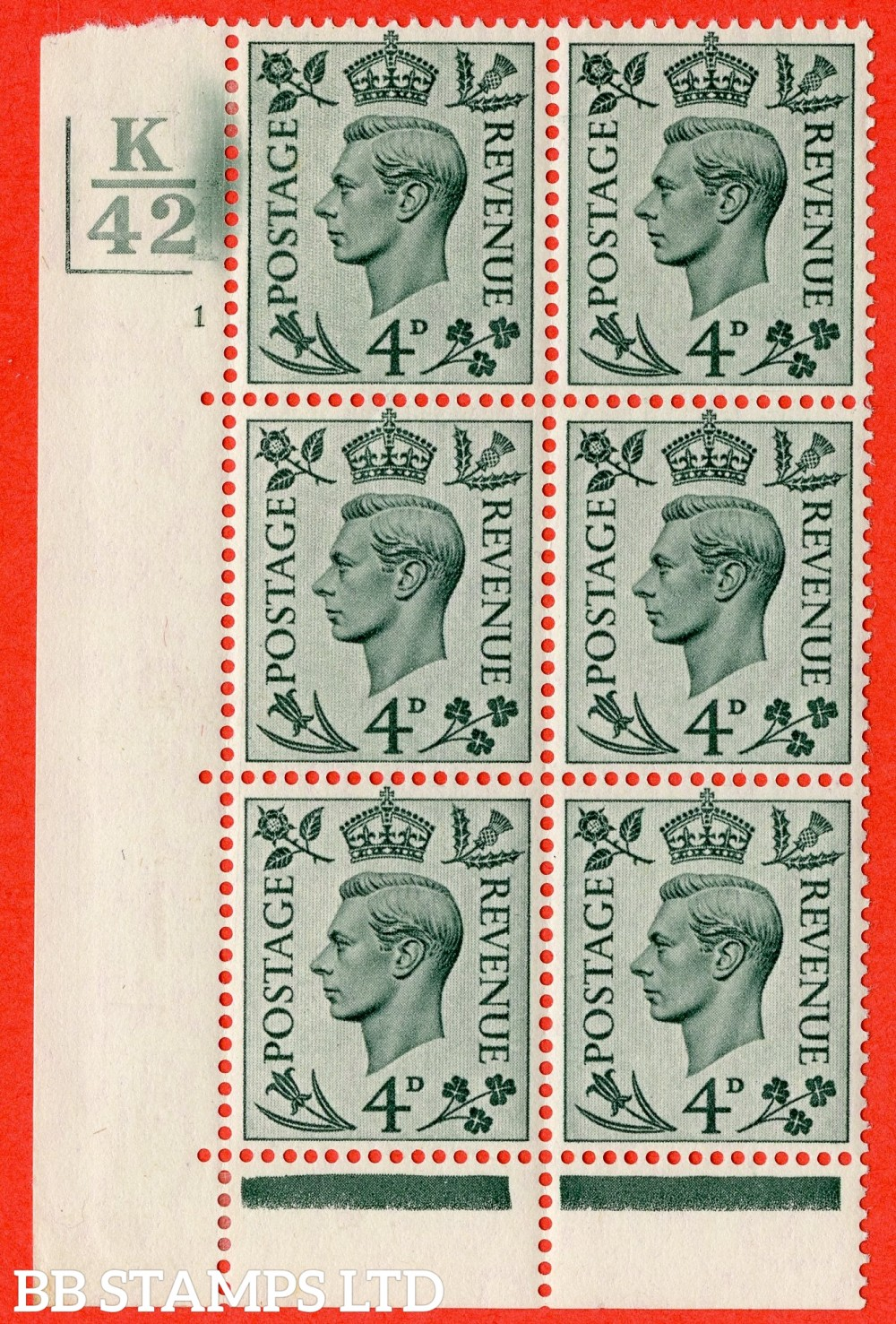 """SG. 468. Q19. 4d Grey-Green. A fine lightly mounted mint. """" Control K42. 2 Bars Cylinder 1 no dot """" control block of 6 with perf type 6B E/P."""