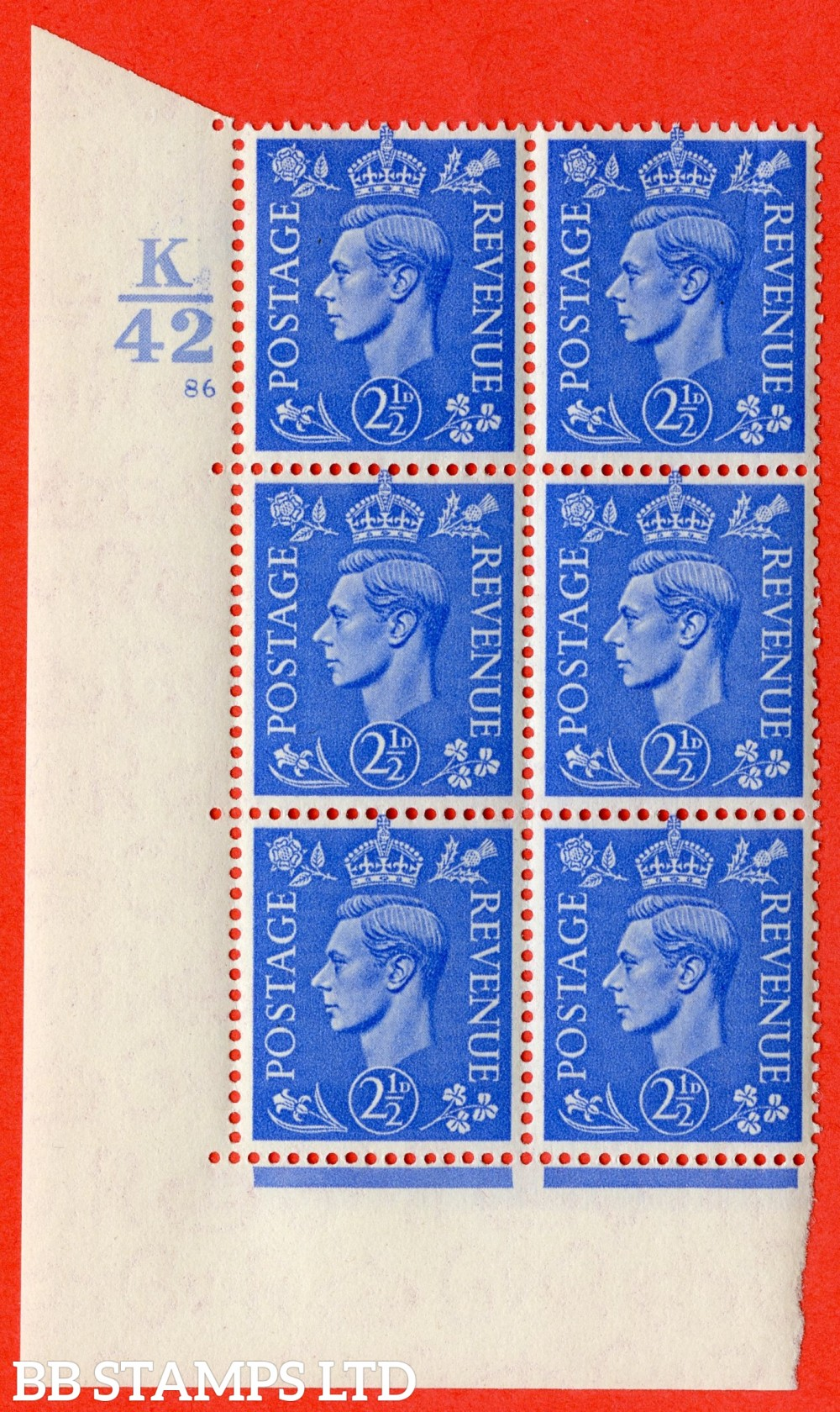 """SG. 489. Q14. 2½d Light ultramarine. A superb UNMOUNTED MINT """" Control K42 cylinder 86 no dot """" control block of 6 with perf type 5 E/I."""