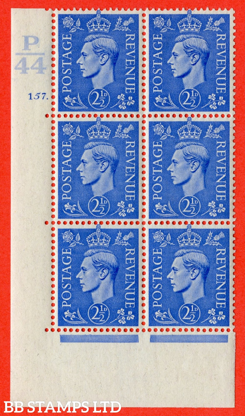 "SG. 489. Q14. 2½d Light ultramarine. A fine lightly mounted mint "" Control P44 cylinder 157 dot "" control block of 6 with perf type 5 E/I."