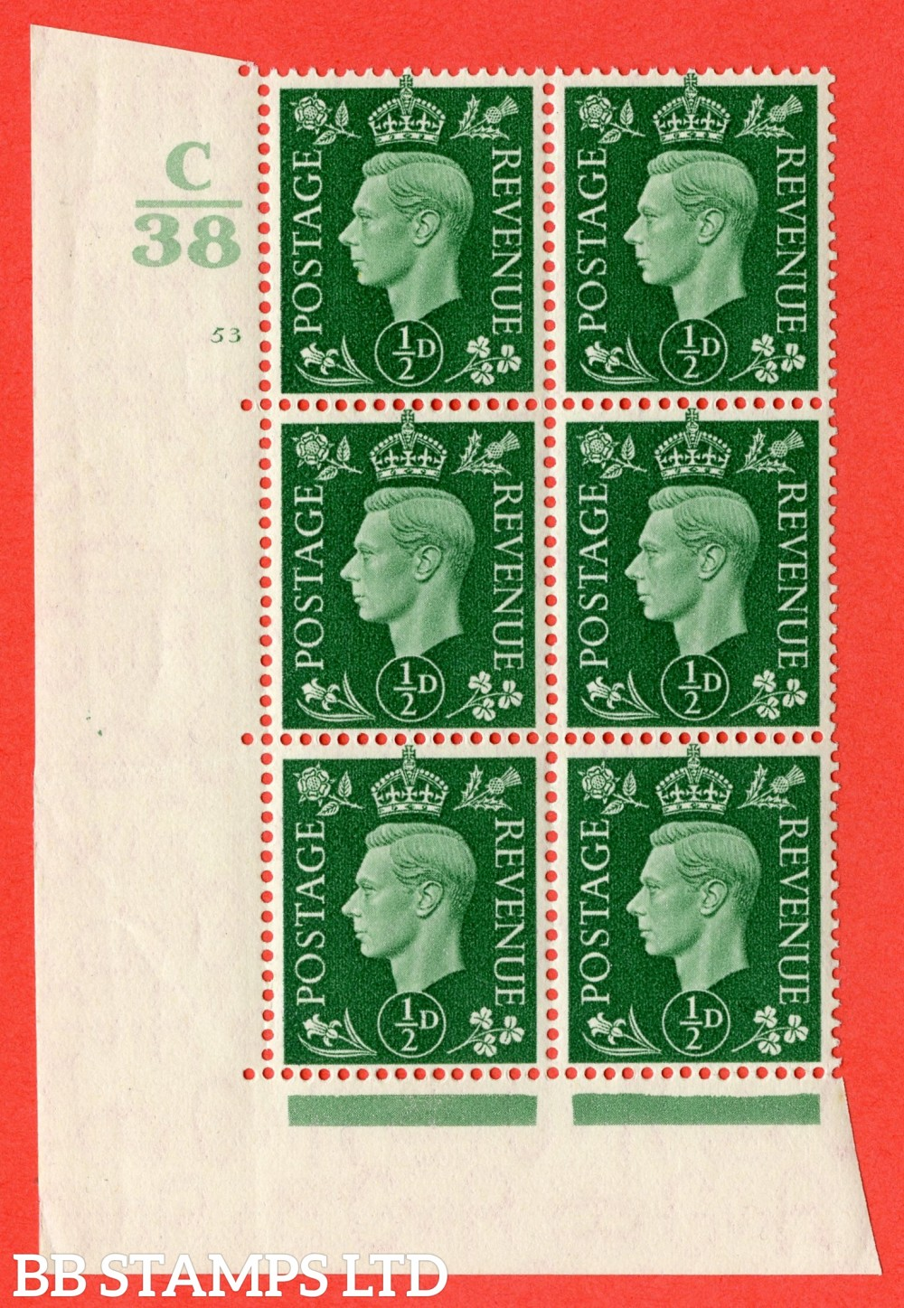 """SG. 462. Q1. ½d Green. A superb UNMOUNTED MINT """" Control C38 cylinder 53 no dot """" block of 6 with perf type 5 E/I."""