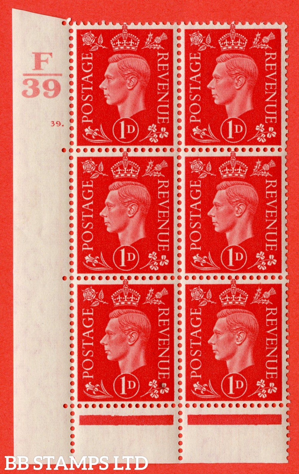 "SG. 463. Q4. 1d Scarlet. A superb UNMOUNTED MINT "" Control F39 cylinder 39 dot "" block of 6 with perf type 6B E/P."