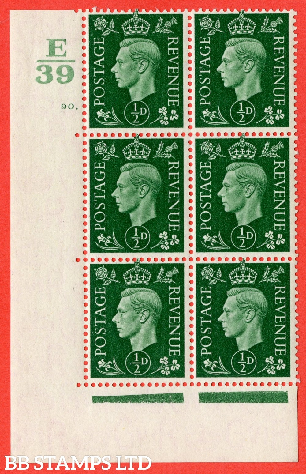 "SG. 462. Q1. ½d Green. A superb UNMOUNTED MINT "" Control E39 cylinder 90 dot "" block of 6 with perf type 5 E/I."