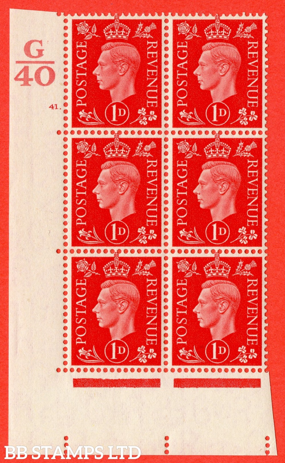 "SG. 463. Q4. 1d Scarlet. A superb UNMOUNTED MINT "" Control G40 cylinder 41 dot "" block of 6 with perf type 5 E/I."