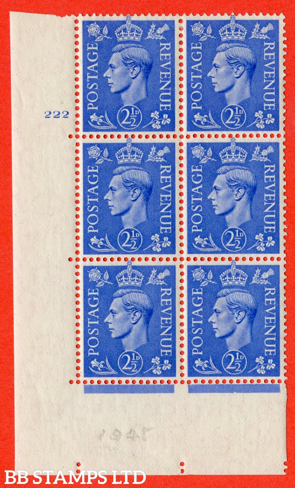 "SG. 489. Q14. 2½d Light ultramarine. A fine lightly mounted mint "" No Control cylinder 222 no dot "" control block of 6 with perf type 5 E/I"
