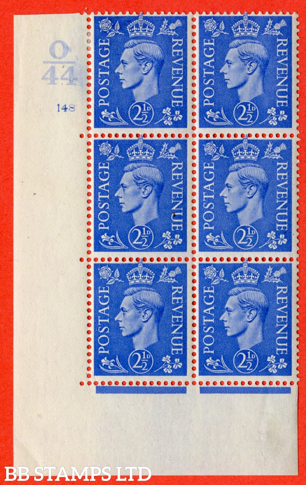 "SG. 489. Q14. 2½d Light ultramarine. A fine lightly mounted mint "" Control O44 cylinder 148 no dot "" control block of 6 with perf type 5 E/I."