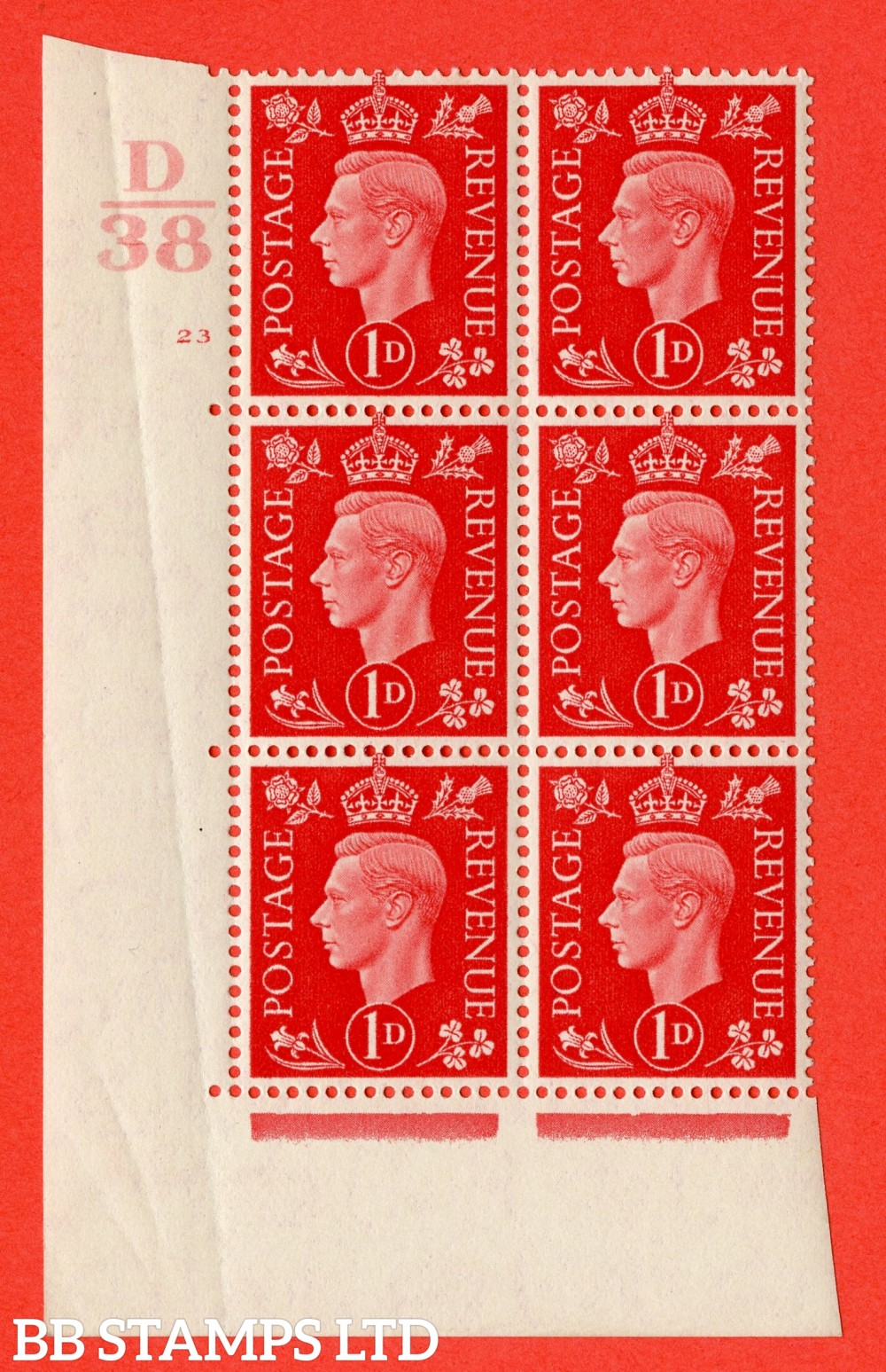 "SG. 463. Q4. 1d Scarlet. A superb UNMOUNTED MINT "" Control D38 cylinder 23 no dot "" block of 6 with perf type 5 E/I with marginal rule."