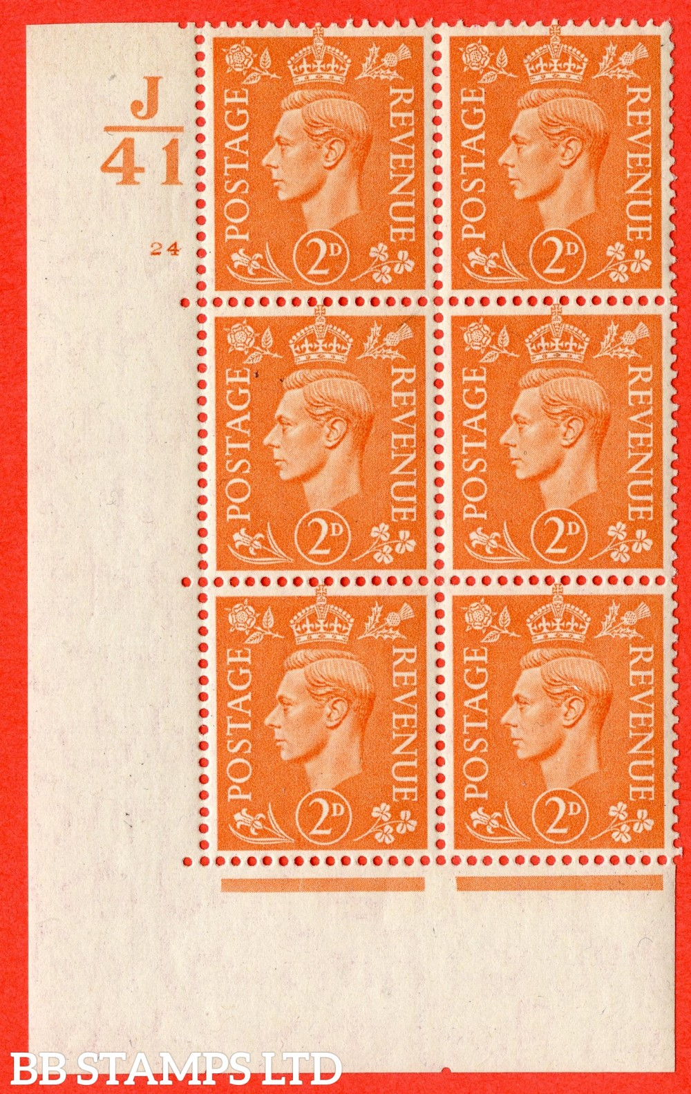 "SG. 488. Q11. 2d Pale Orange. A fine lightly mounted mint "" Control J41 cylinder 24 no dot "" control block of 6 with perf type 5 E/I."