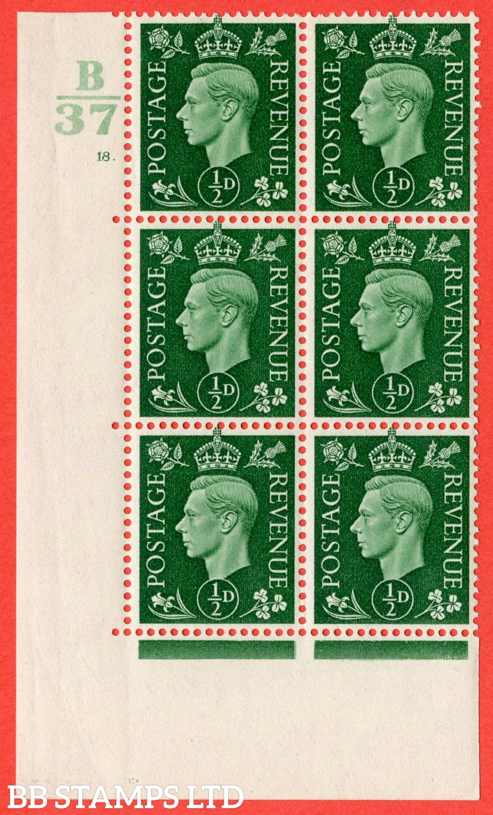 "SG. 462. Q1. ½d Green. A superb UNMOUNTED MINT "" Control B37 cylinder 18 no dot "" block of 6 with perf type 5 E/I with marginal rule."