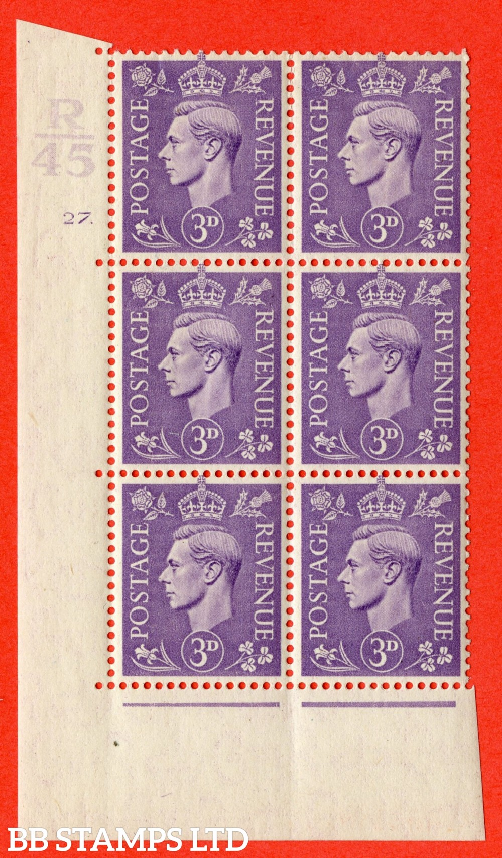 """SG. 490. Q17. 3d pale violet. A fine lightly mounted mint. """" Control R45 cylinder 27 dot """" control block of 6 with perf type 5 E/I."""