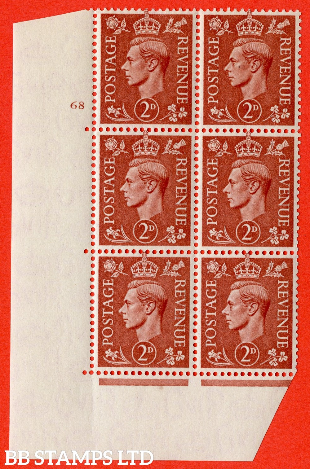 "SG. 506. Q12. 2d Pale Red-Brown. A superb UNMOUNTED MINT "" No Control cylinder 68 no dot "" control block of 6 with perf type 5 E/I."