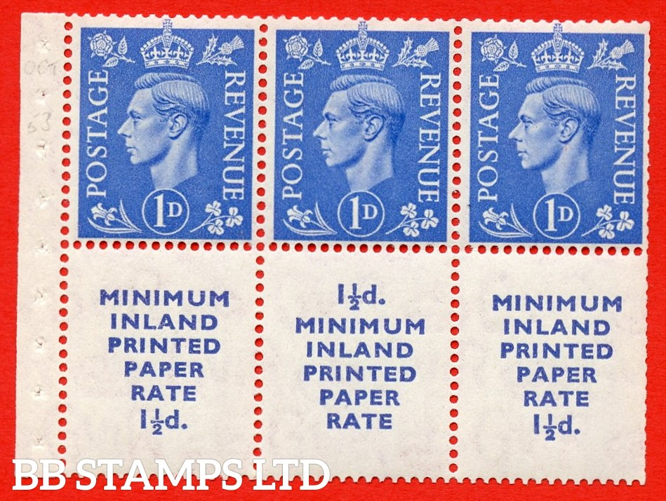 """SG. 504d. QB19. 1d ultramarine. A fine MOUNTED MINT complete booklet pane """" MINIMUM INLAND PRINTED PAPER RATE """" 15 mm high """". Perf type """" I """". Trimmed Perfs."""