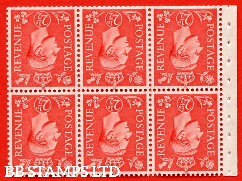 """SG. 507cw. QB34a. 2½d pale scarlet. A fine UNMOUNTED MINT Booklet pane of 6. Perf type """" I """". Trimmed Perfs."""
