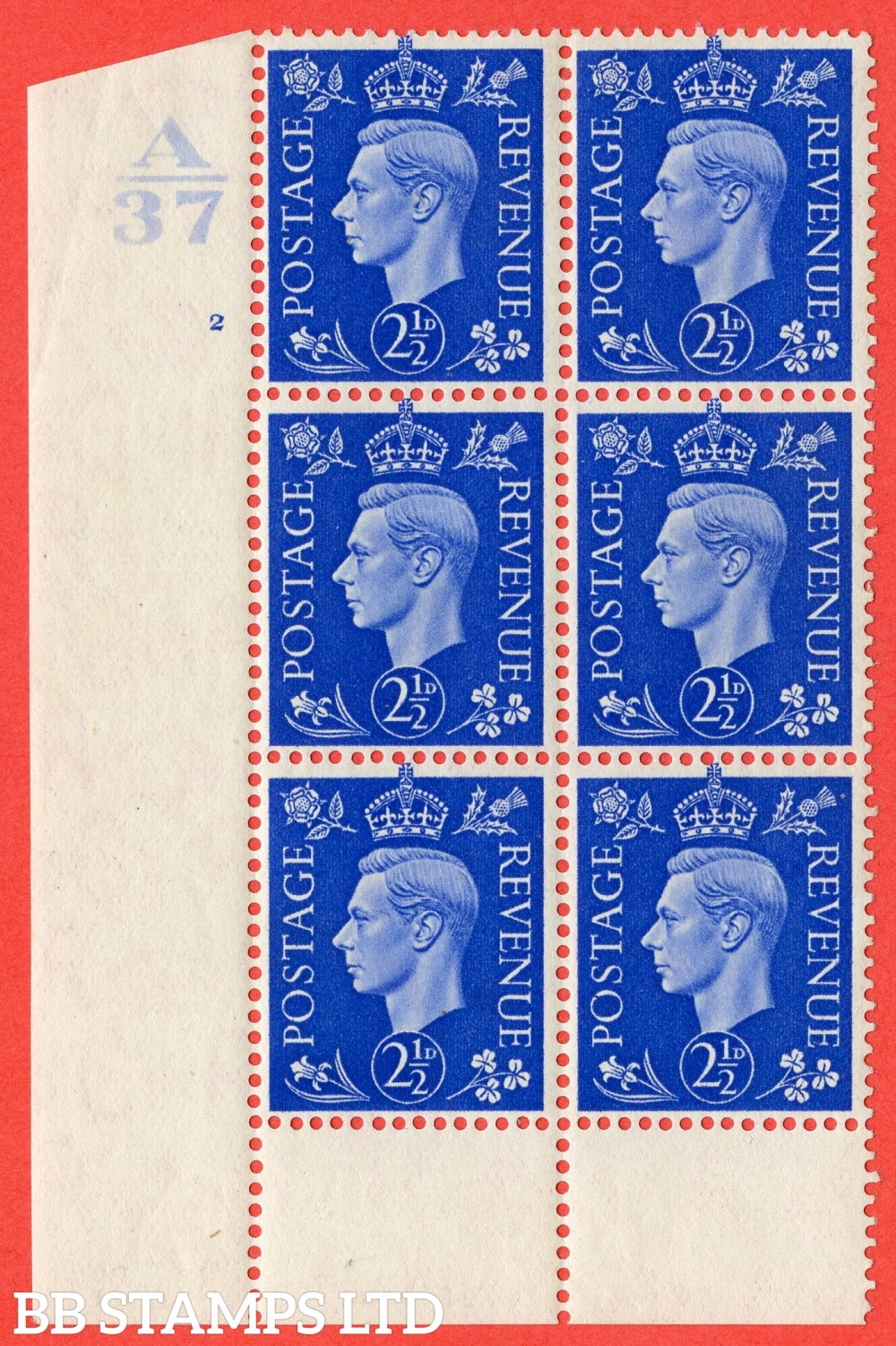 "SG. 466. Q13. 2½d Ultramarine.  A fine lightly mounted mint "" Control A37 cylinder 2 no dot "" control block of 6 with perf type 6 I/P. with listed variety "" Scratch on Temple "" R20/1."
