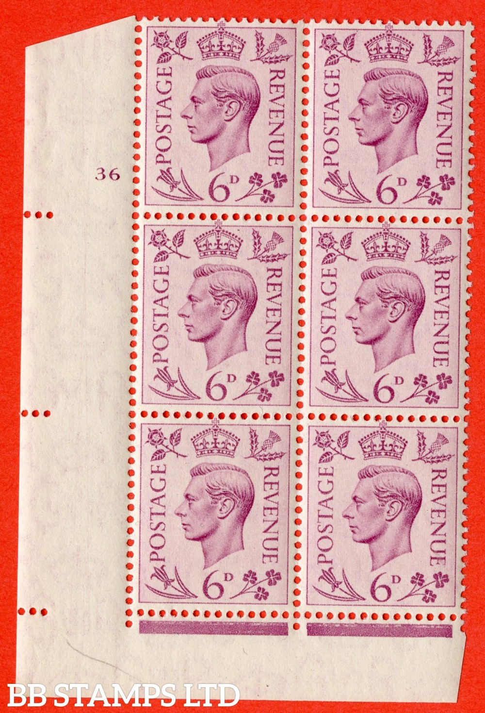 """SG. 470. Q22. 6d Purple. A superb UNMOUNTED MINT """" No Control cylinder 36 no dot """" control block of 6 with perf type 2 E/I."""