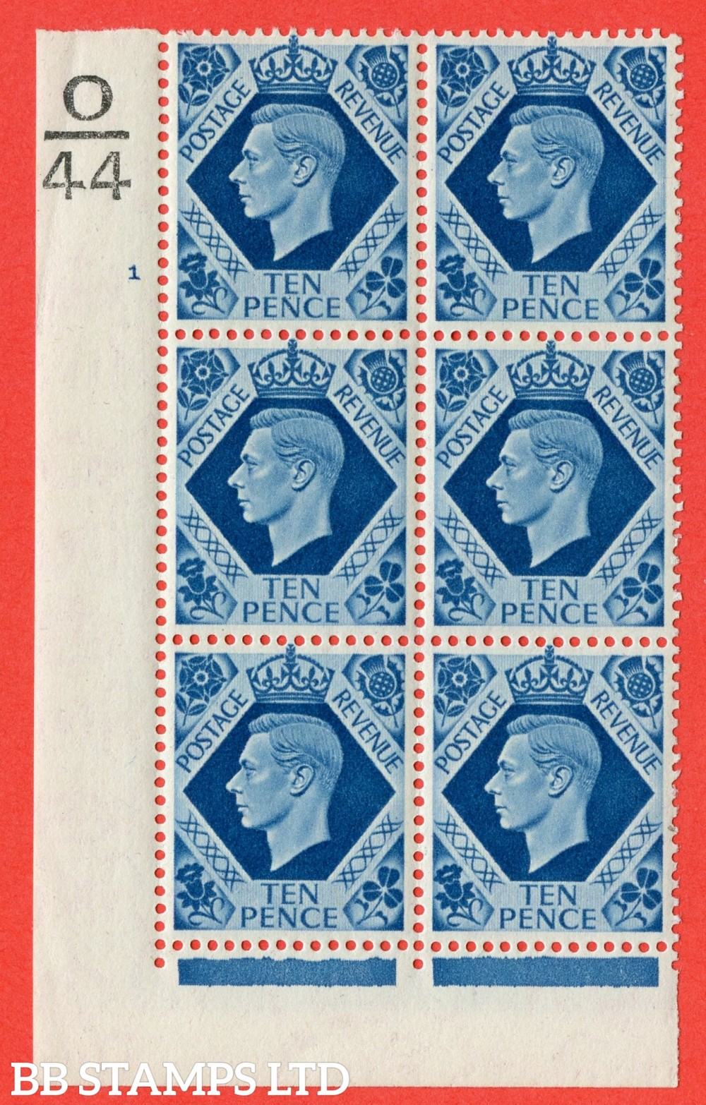 "SG. 474. Q26. 10d Turquoise-Blue. A fine lightly mounted mint "" Control Q45 cylinder 1 no dot "" control block of 6 with perf type 2 I/E."