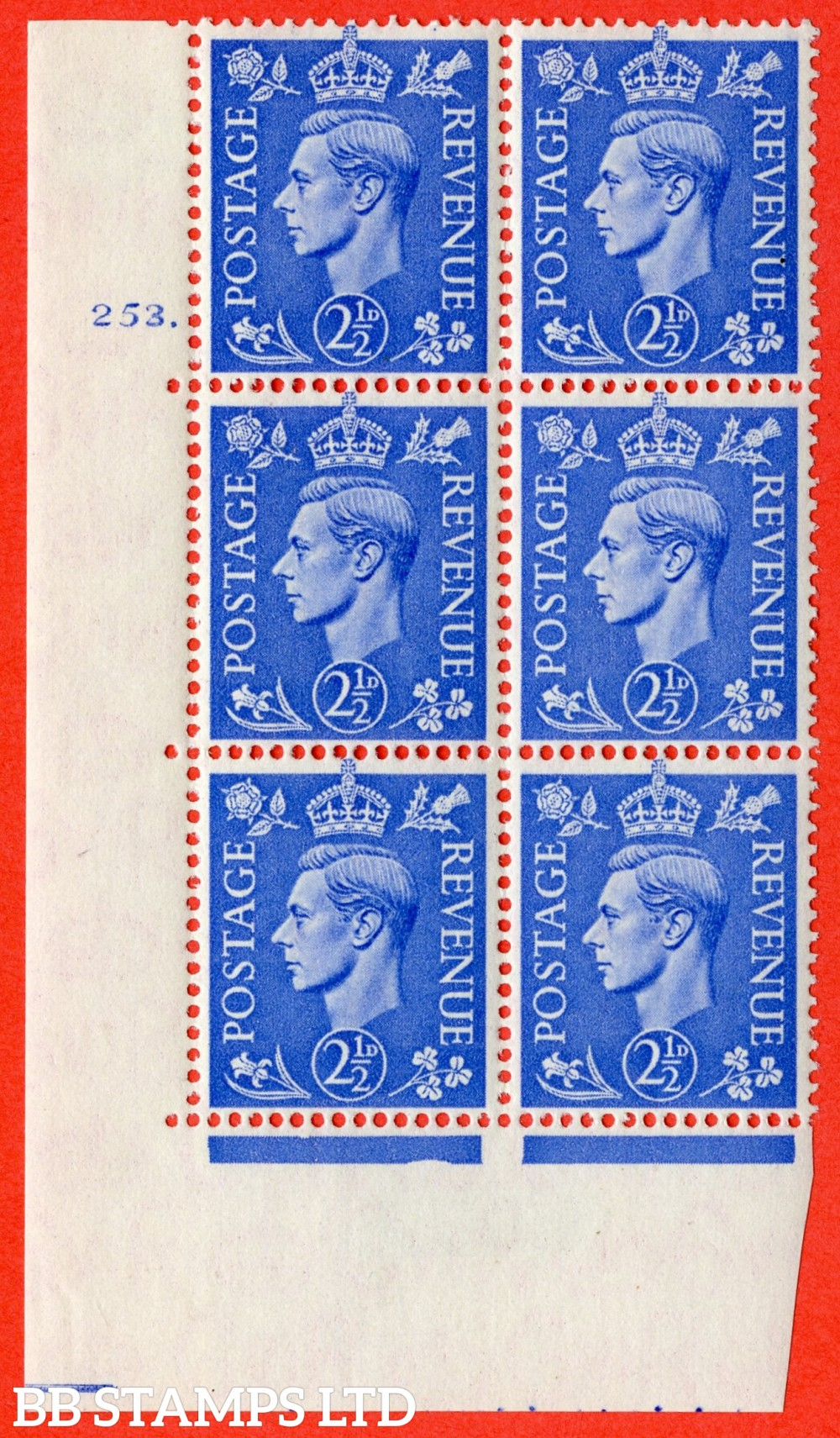"SG. 489. Q14. 2½d Light ultramarine. A fine lightly mounted mint "" No Control  cylinder 253 dot "" control block of 6 with perf type 5 E/I."