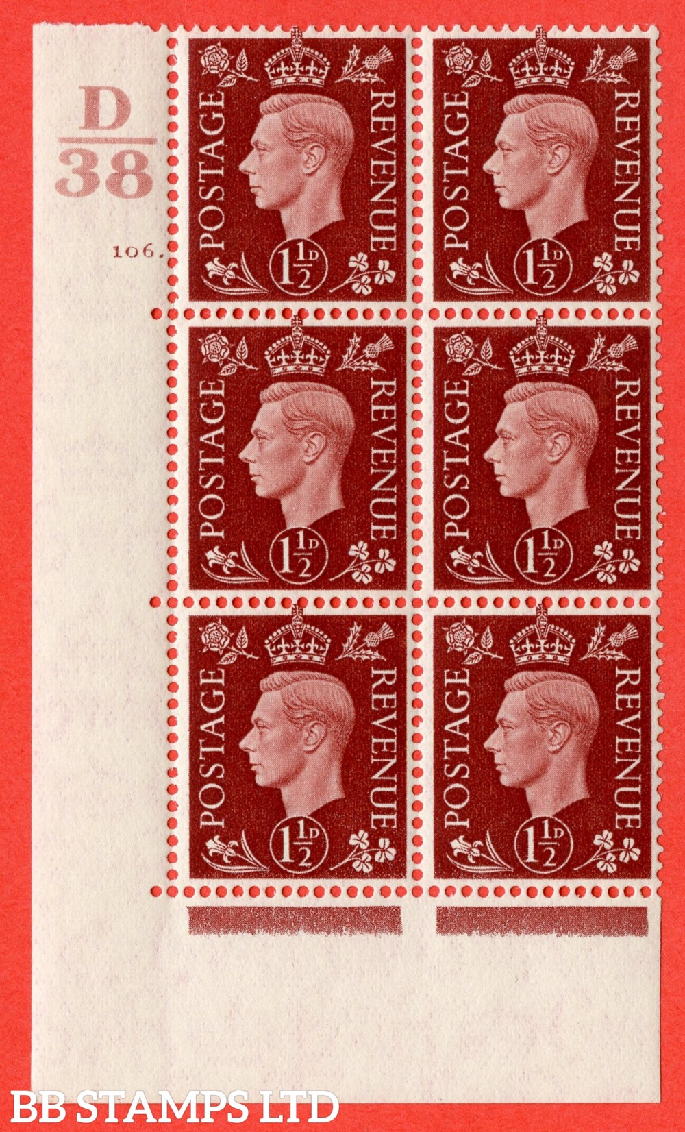"""SG. 464. Q7. 1½d Red-Brown. A superb UNMOUNTED MINT """" Control D38 cylinder 106 dot """" block of 6 with perf type 5 E/I."""