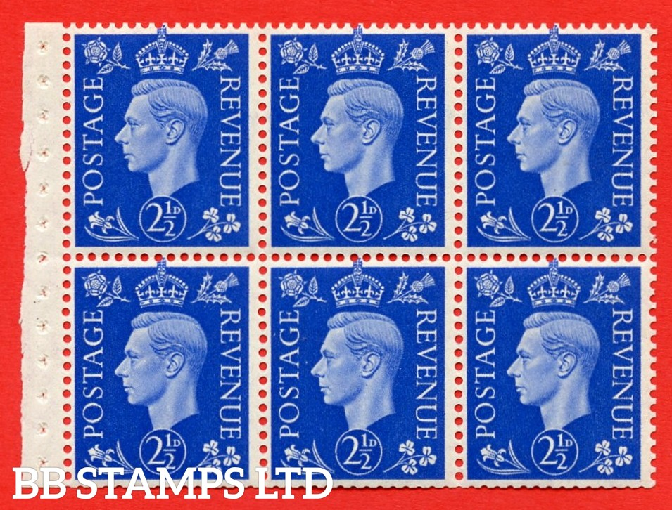 SG. 466 c. QB32. 2½d blue. A fine UNMOUNTED MINT booklet pane of 6. Perf type I. Good perfs.