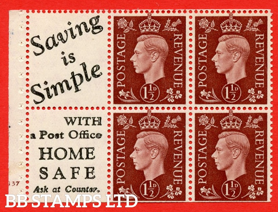"""QB23 Perf Type B3(I) (9) 1½d Red-Brown x 6 Pane, MOUNTED MINT. Cylinder Pane G37 no dot ( SG. 464b ) Perf type B3(I). """" Saving is Simple / (""""is"""" 3.5mm. High) Home Safe """". Trimmed Perfs."""