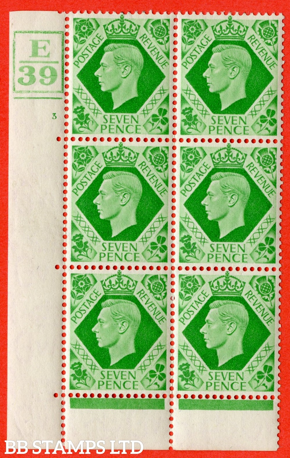 """SG. 471. Q23. 7d Emerald-Green. A fine lightly mounted mint """" Control E39 Box & Bar. Cylinder 3 no dot """" control block of 6 with perf type 6B E/P."""