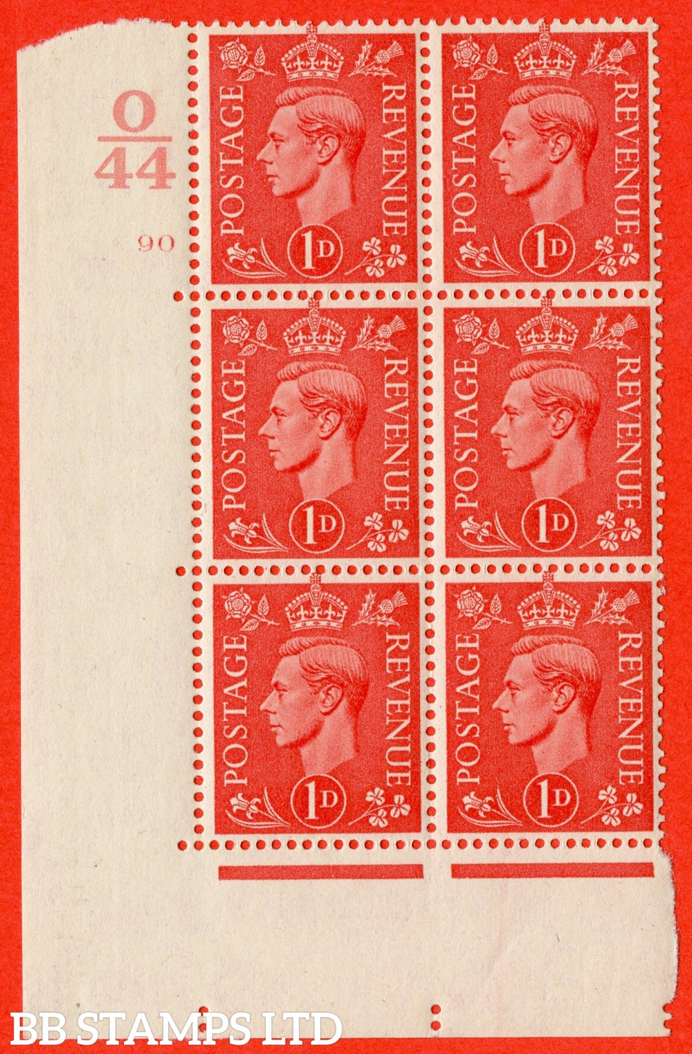 "SG. 486. Q5. 1d Pale scarlet. A superb UNMOUNTED MINT "" Control O44  cylinder 90 no dot "" control block of 6 with perf type 5 E/I."