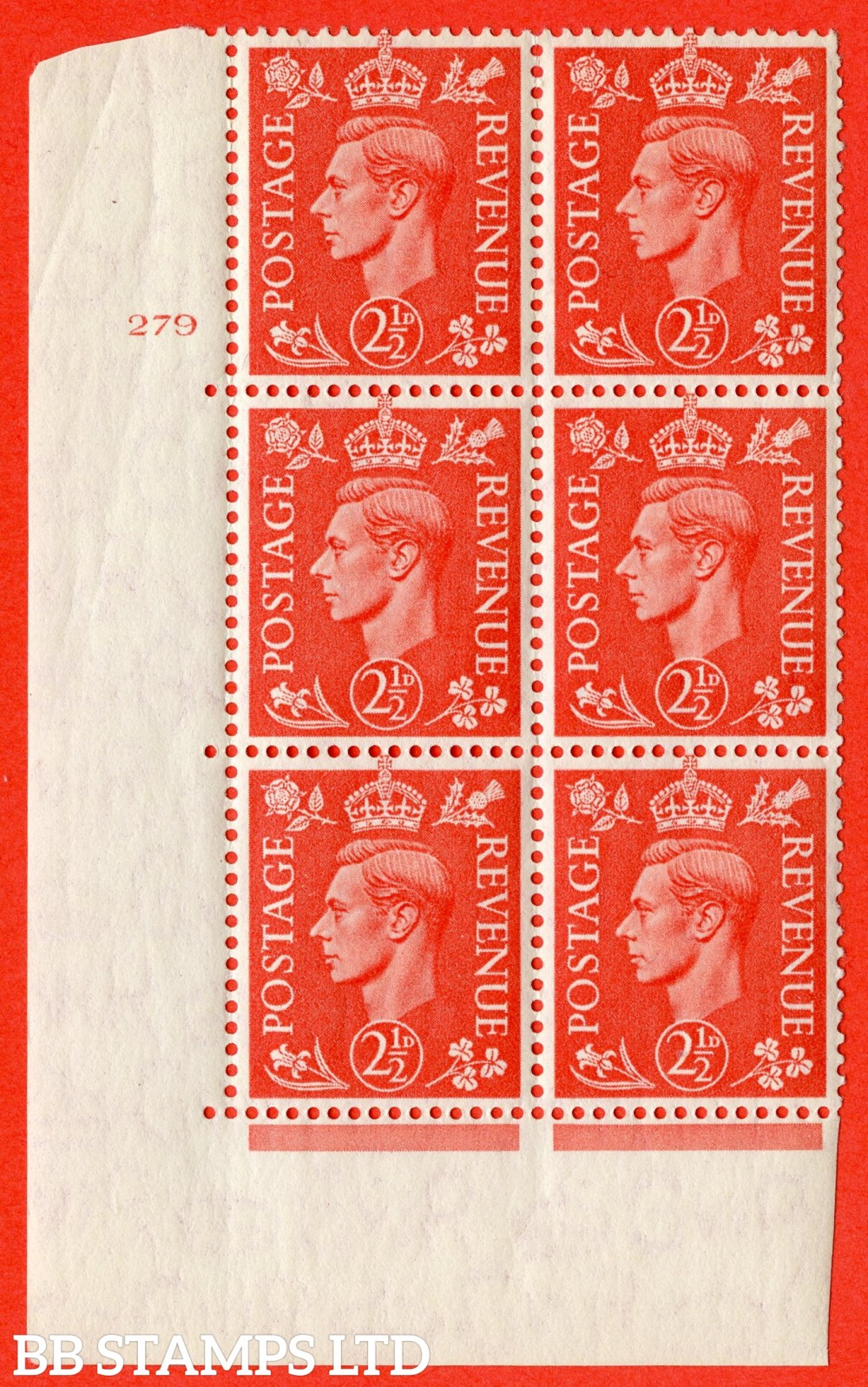 "SG. 507. Q15. 2½d Pale Scarlet. A fine lightly mounted mint "" No Control cylinder 279 no dot "" control block of 6 with perf type 5 E/I."