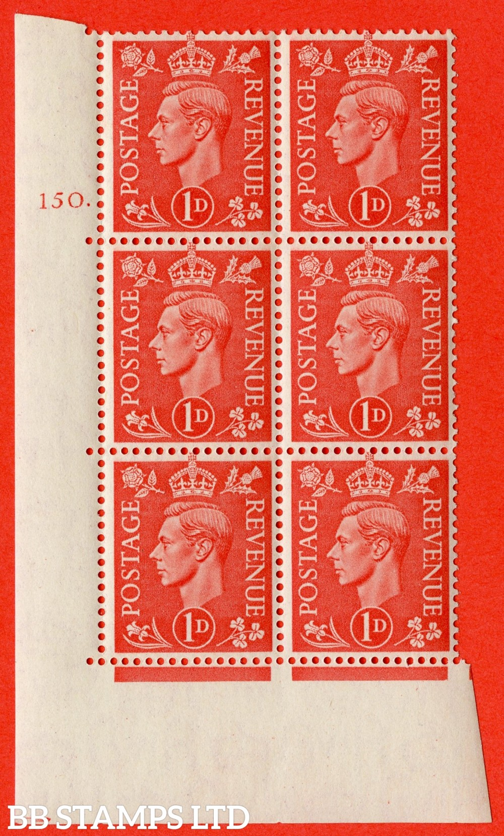 "SG. 486. Q5. 1d Pale scarlet. A superb UNMOUNTED MINT "" No Control  cylinder 150 dot "" control block of 6 with perf type 5 E/I."