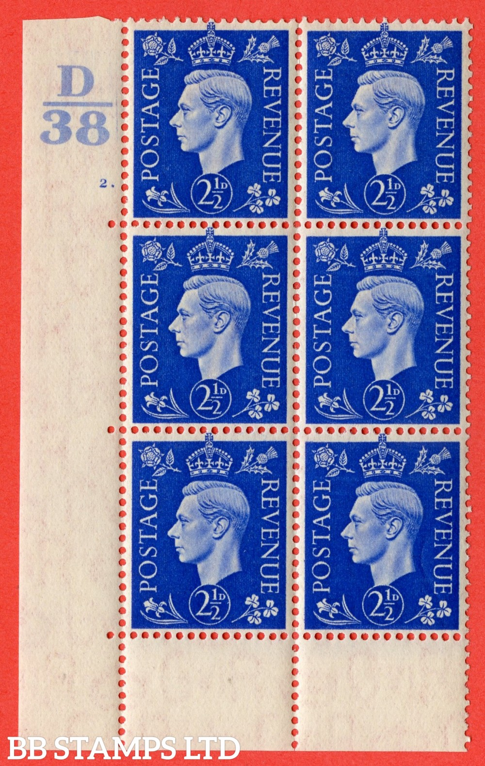 "SG. 466. Q13. 2½d Ultramarine. A superb UNMOUNTED MINT "" Control D38 cylinder 2 dot "" control block of 6 with perf type 6B E/P."