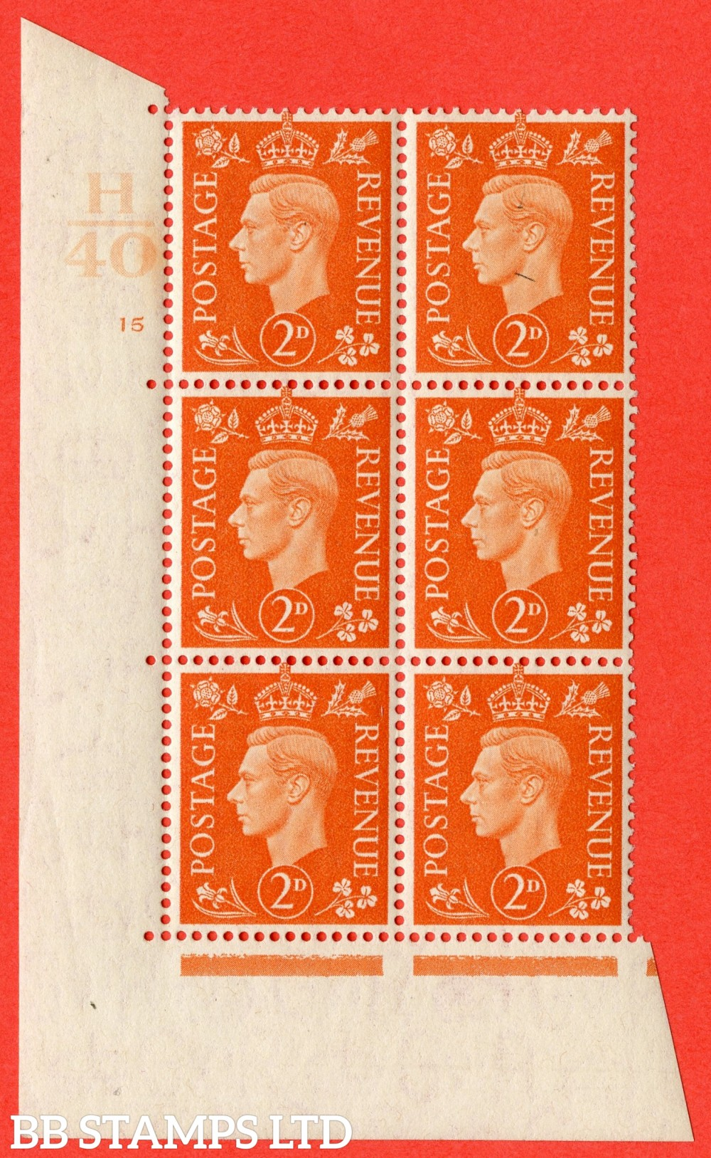"SG. 465. Q10. 2d Orange. A fine lightly mounted mint "" Control H40 cylinder 15 no dot "" control block of 6 with perf type 5 E/I."
