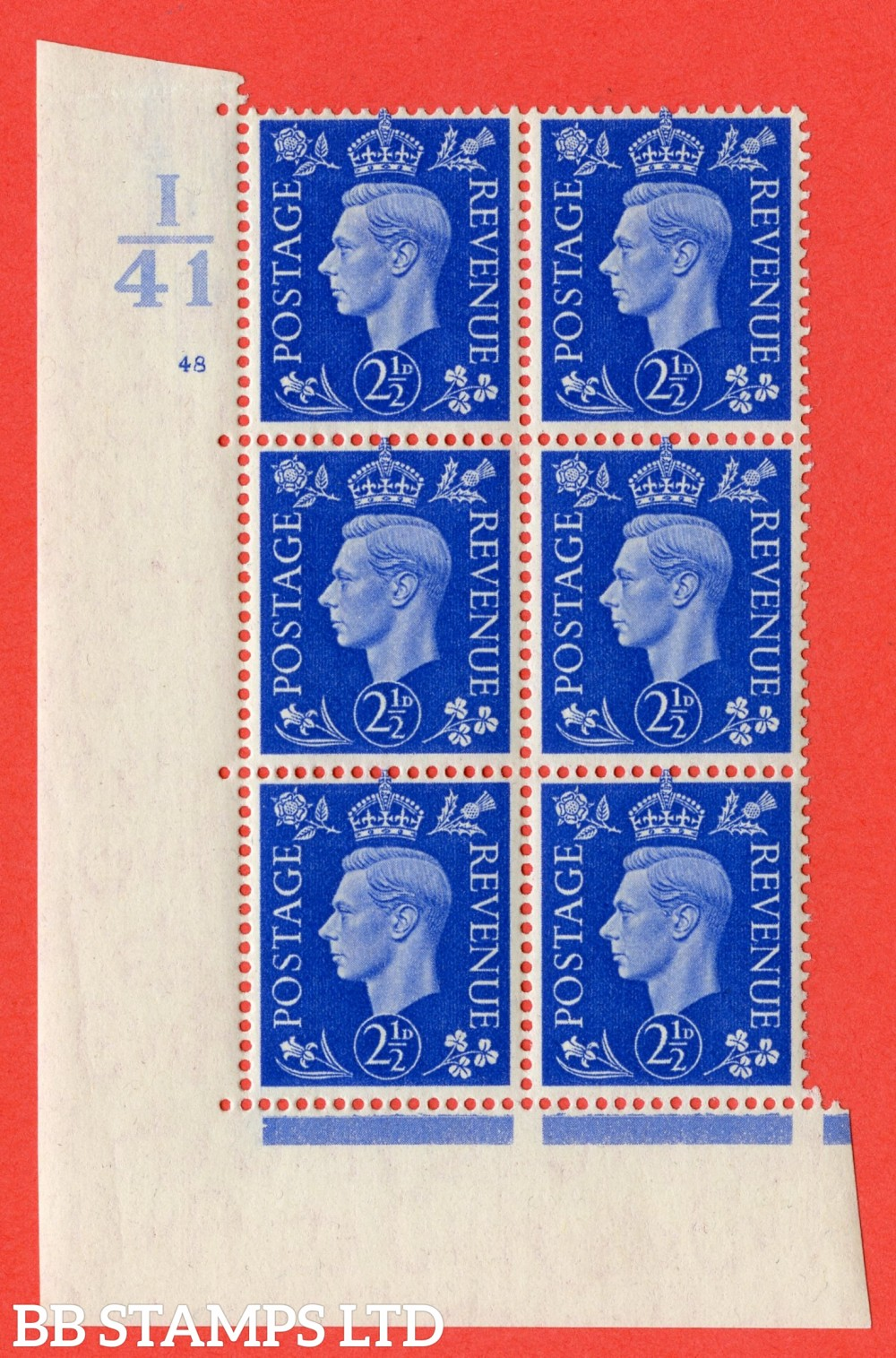 "SG. 466. Q13. 2½d Ultramarine. A fine lightly mounted mint "" Control I41 cylinder 48 no dot "" control block of 6 with perf type 5 E/I."