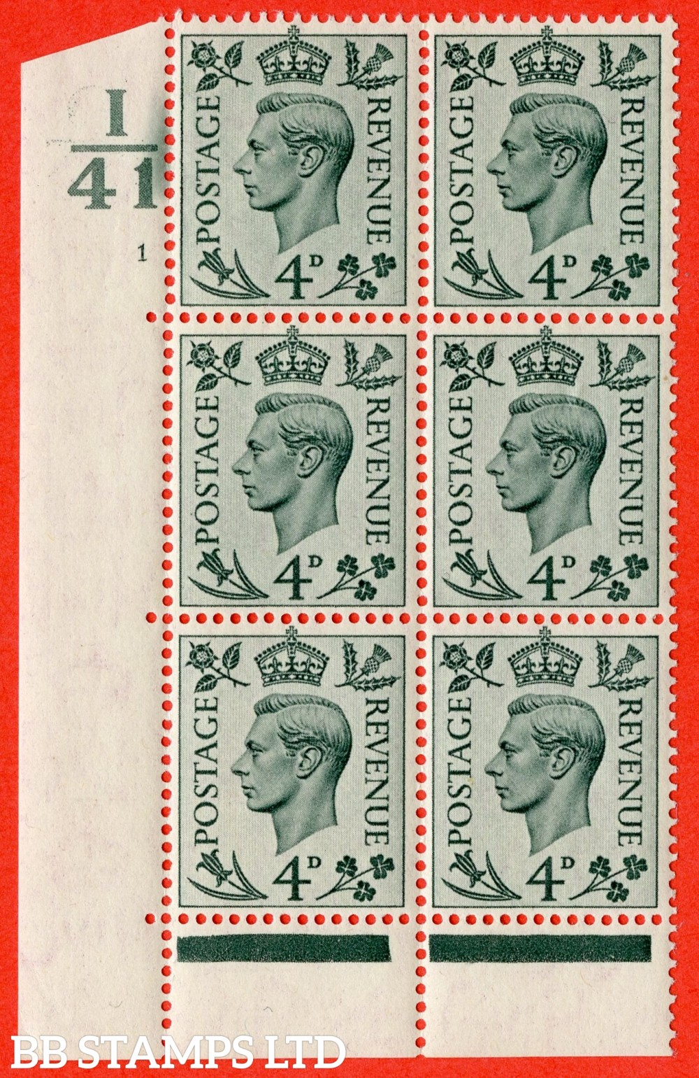 """SG. 468. Q19. 4d Grey-Green. A fine lightly mounted mint. """" Control I41. Cylinder 1 no dot """" control block of 6 with perf type 6B E/P."""