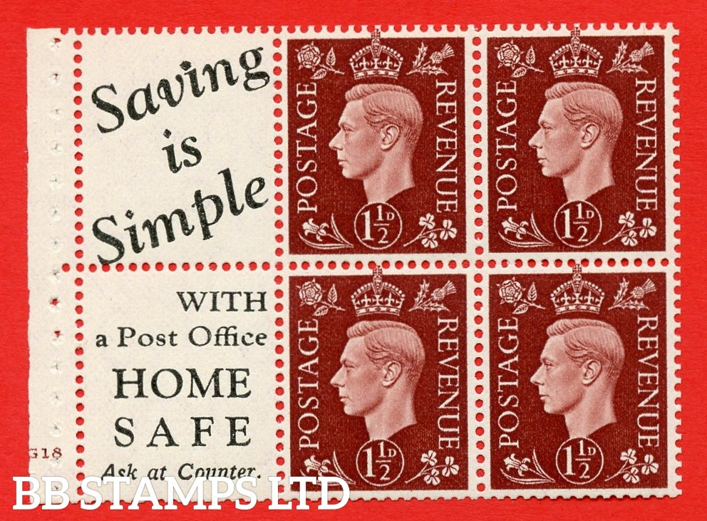 """QB23 Perf Type B4(E) (10) 1½d Red-Brown x 6 Pane, UNMOUNTED MINT. Cylinder Pane G18 no dot ( SG. 464b ) Perf type B4(E). """" Saving is Simple / (""""is"""" 4.5mm. High) Home Safe """". Good Perfs."""