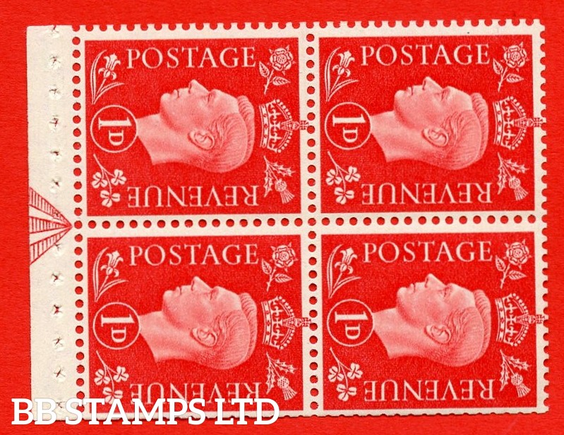"""SG. 463ab. QB11a. 1d scarlet. SIDEWAYS WATERMARK Left. A super MOUNTED MINT booklet pane. Perf Type """" I """". Trimmed Perfs."""