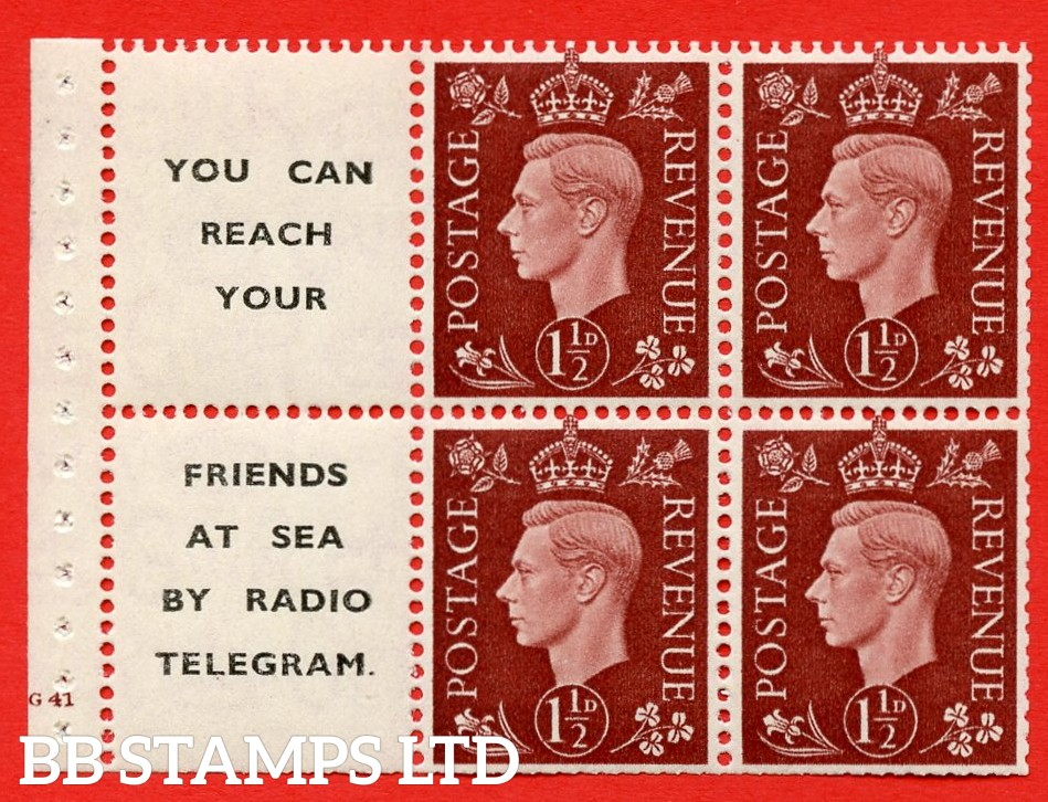 """QB23 Perf Type B3(I) (12) 1½d Red-Brown x 6 Pane, UNMOUNTED MINT. Cylinder Pane G41 no dot  ( SG. 464b ) Perf type B3(I). """" You can reach your / friends at sea by Radio Telegram  """". Trimmed Perfs."""