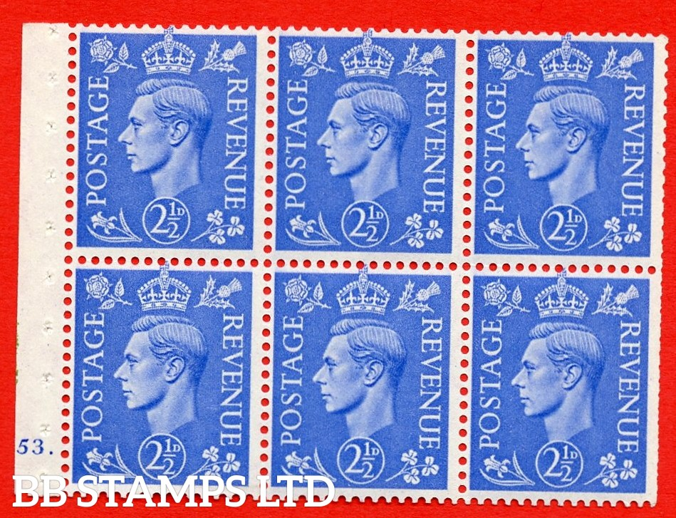"""SG. 489f. QB33. 2½d blue. A fine UNMOUNTED MINT complete Cylinder pane of 6 J53 dot. Perf type """"B6(IE)"""". Trimmed Perfs."""