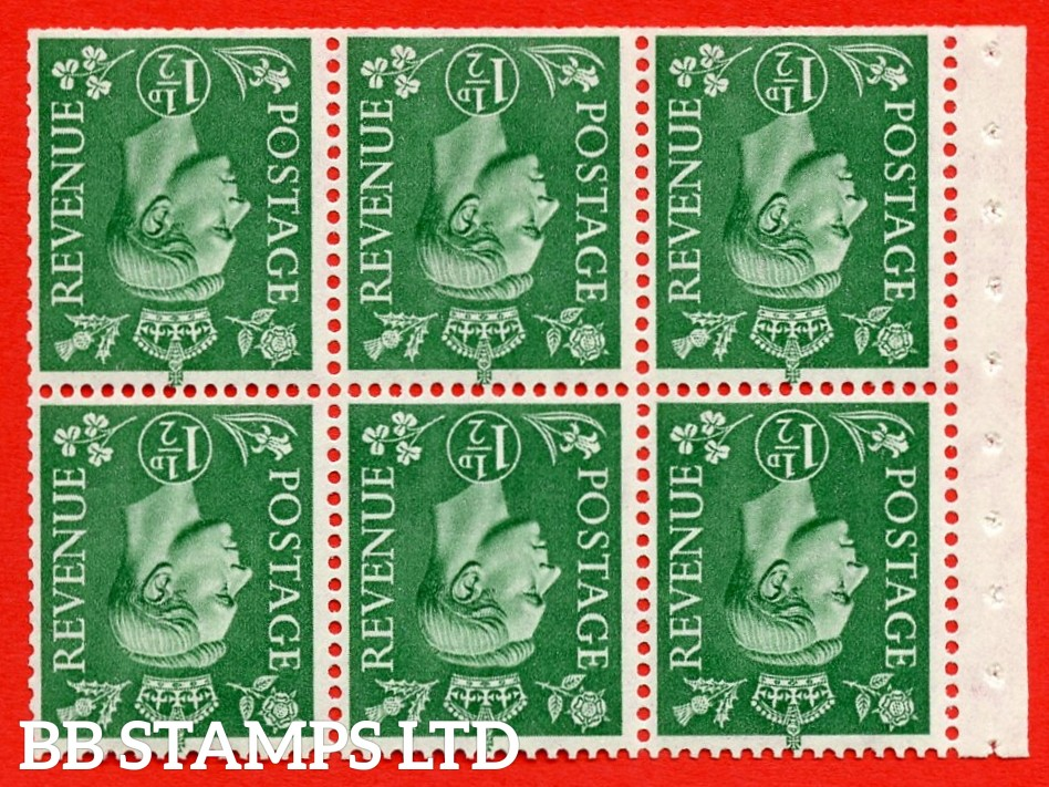 """SG. 505bw. QB26a. 1½d pale green. A superb MOUNTED MINT complete booklet pane. Perf type """" I """". Trimmed Perfs"""