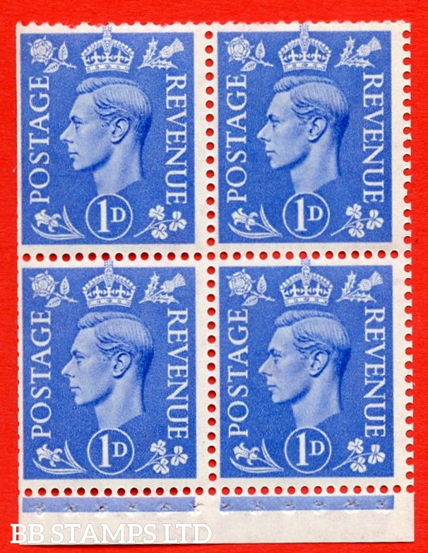 """SG. 504g. QB16a. 1d ultramarine. A fine MOUNTED MINT complete booklet pane of 4. Perf type """" I """". Trimmed Perfs."""