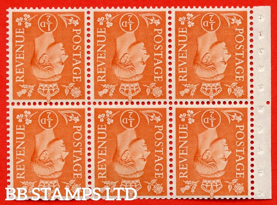 """SG. 503dw. QB7a. ½d orange. A fine MOUNTED MINT. INVERTED WATERMARK. complete booklet pane of 6. Perf type """" Iem """". Good Perfs."""