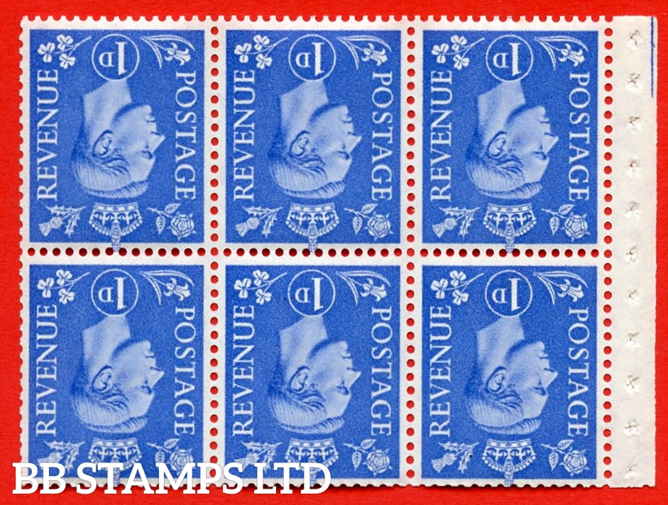 """SG. 504fw. QB15a. 1d ultramarine. Type 1c. A fine UNMOUNTED MINT. INVERTED WATERMARK. complete booklet pane of 6. Perf type """" Iet """". Good Perfs."""