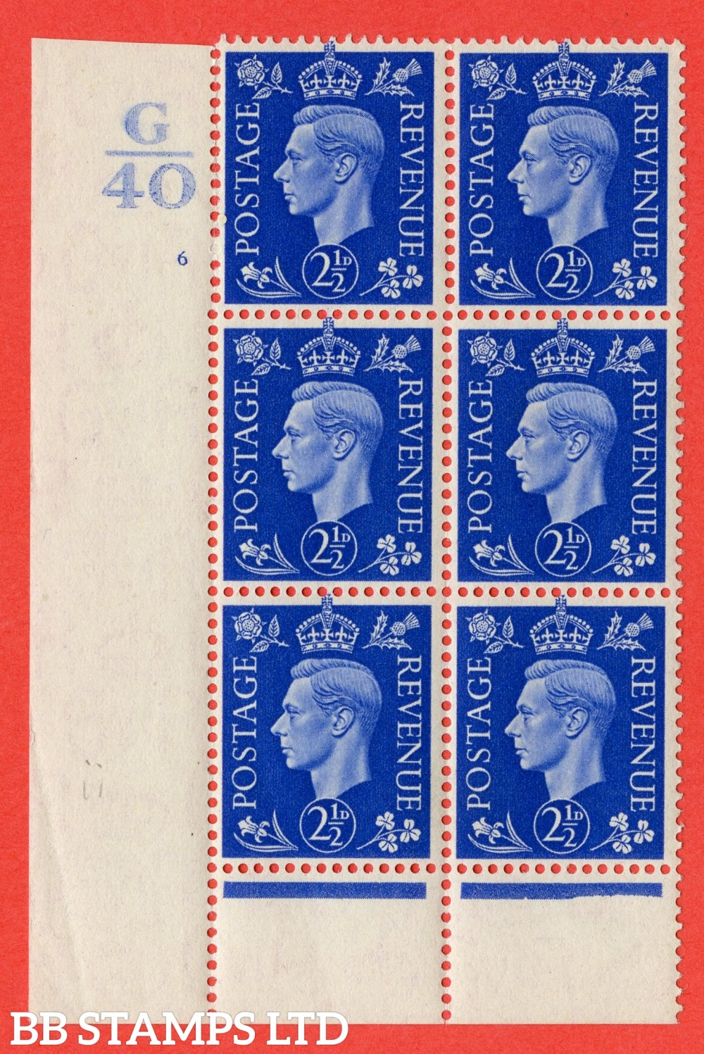 "SG. 466. Q13. 2½d Ultramarine. A fine lightly mounted mint "" Control G40 cylinder 6 (ii) no dot "" control block of 6 with perf type 6 I/P. Perf separation at top margin."