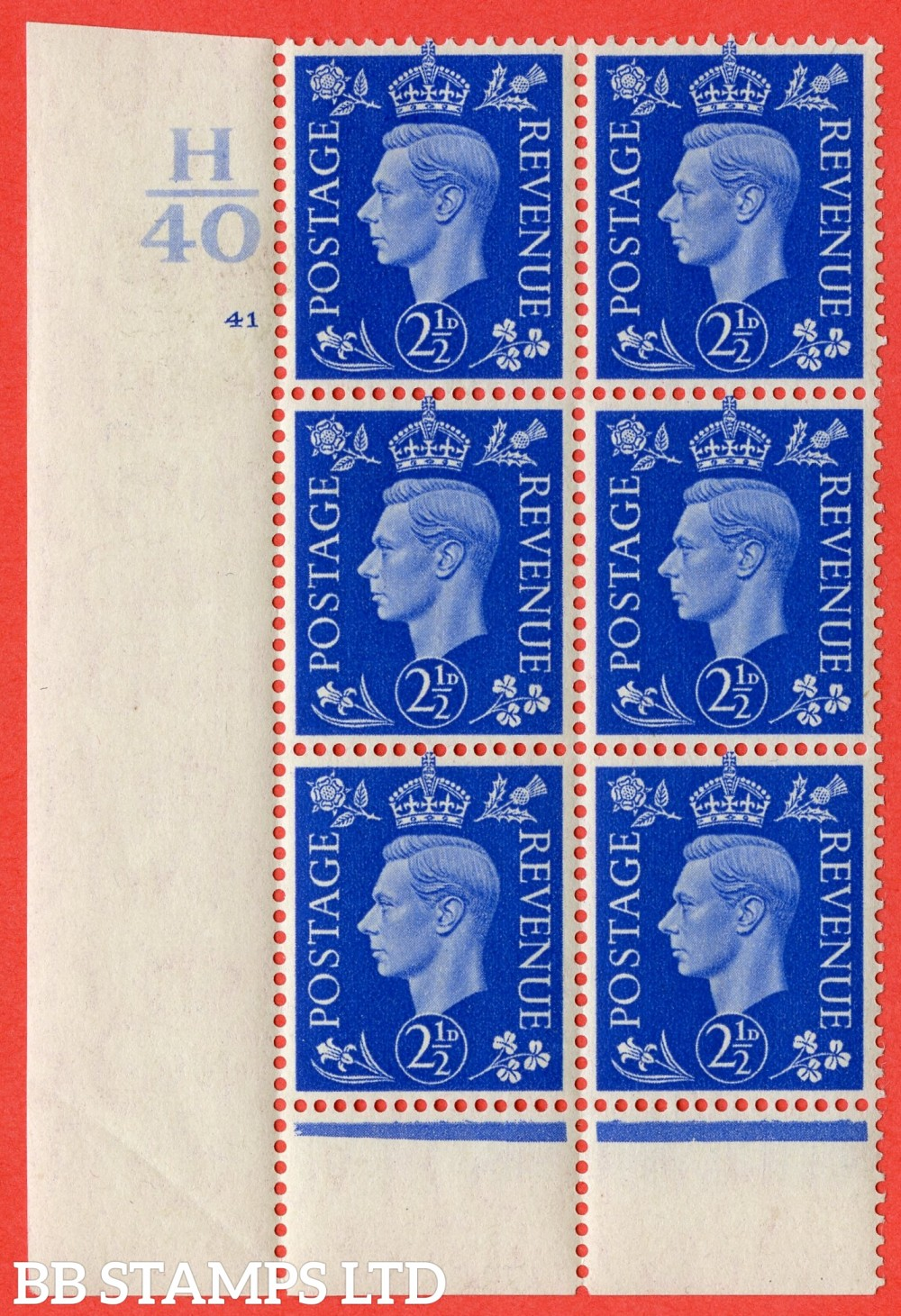 "SG. 466. Q13. 2½d Ultramarine. A fine lightly mounted mint "" Control H40 cylinder 41 no dot "" control block of 6 with perf type 6 I/P."